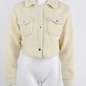Crop teddy jacket